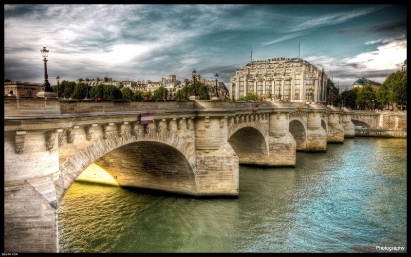 Paris bridges HDR photography rivers Pont Neuf wallpaper
