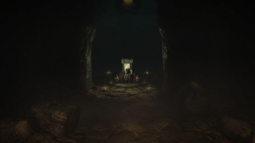 video games undead throne The Elder Scrolls V: Skyrim gloomy wallpaper
