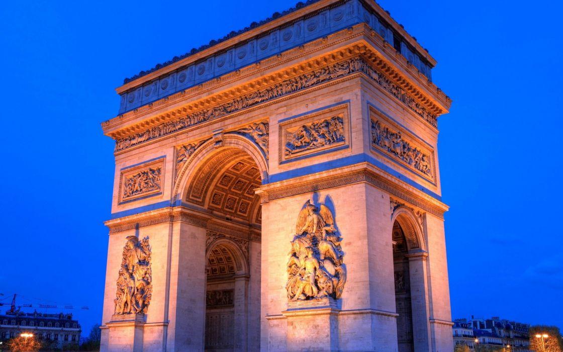 Paris architecture buildings Arc De Triomphe  wallpaper
