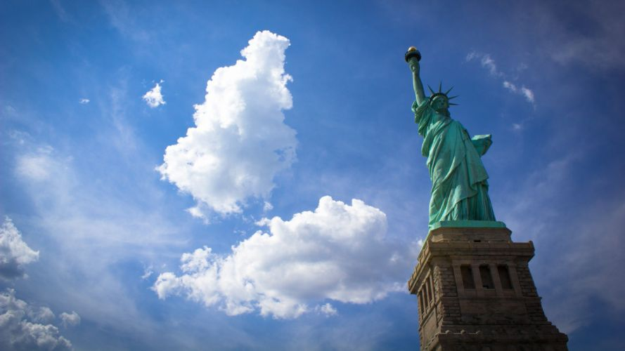 clouds USA Statue of Liberty statues skyscapes wallpaper