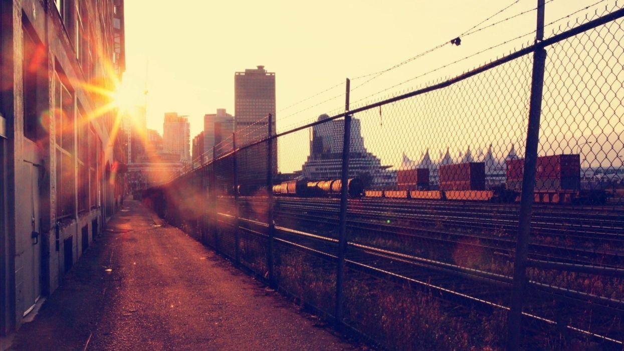 sunset cityscapes vintage buildings Vancouver sunlight railroads railroad car wallpaper