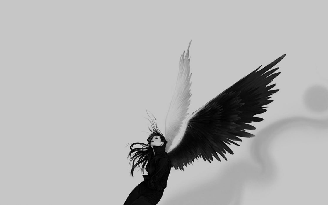 women grayscale monochrome angel wings wallpaper