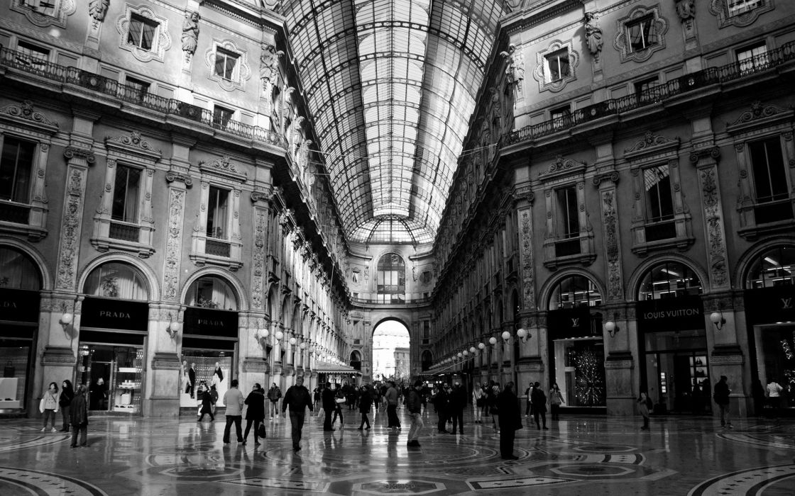 black and white indoors architecture buildings AC Milan wallpaper