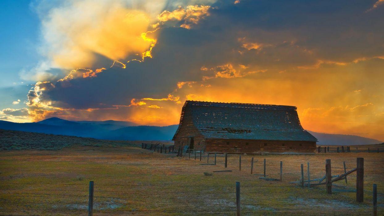 sunset barn forest fire wallpaper