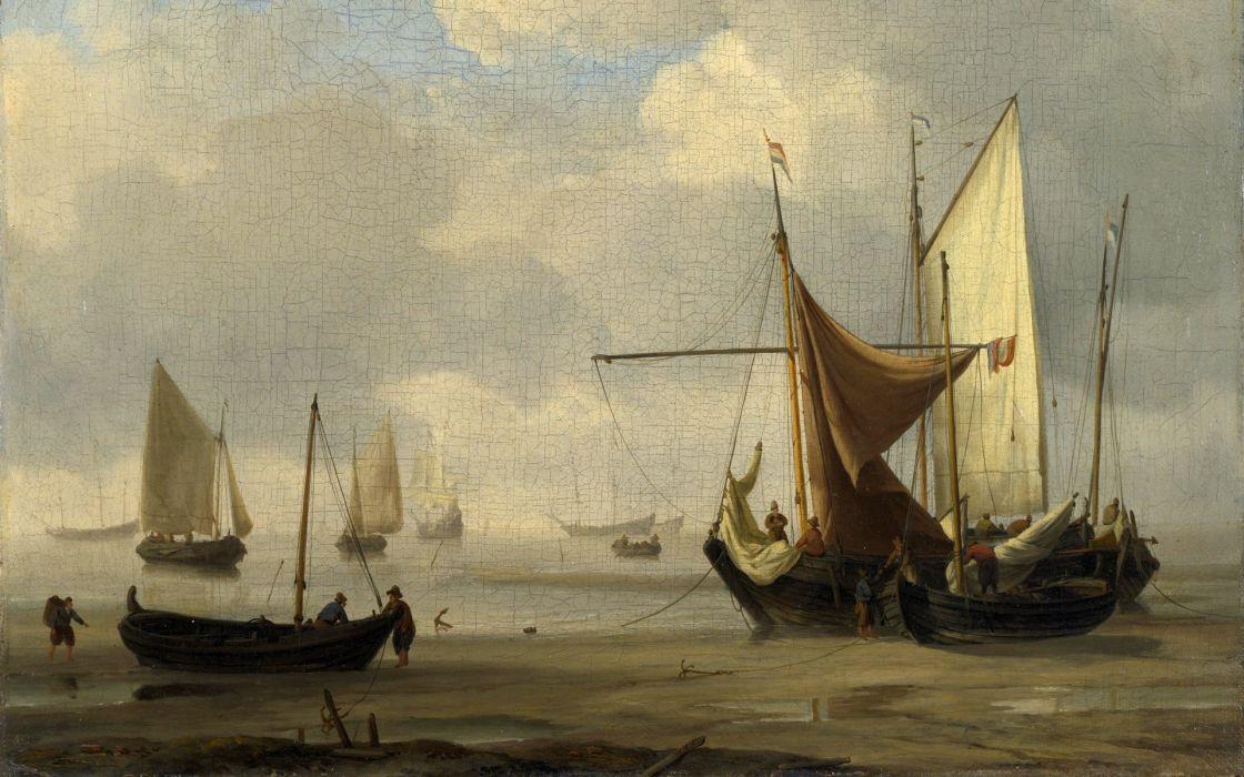 paintings boats vehicles wallpaper