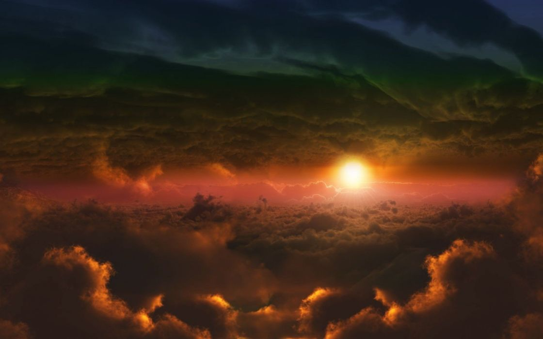 clouds nature Sun skyscapes wallpaper