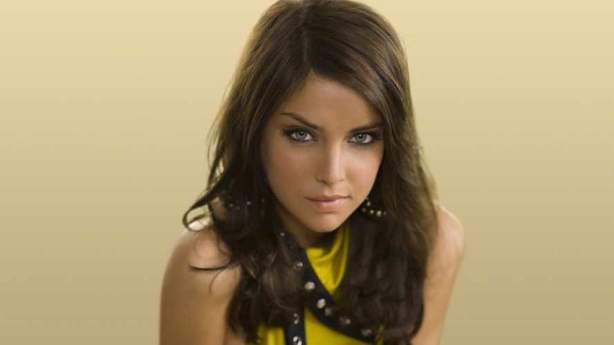 brunettes women Jessica Stroup yellow dress simple background faces wallpaper