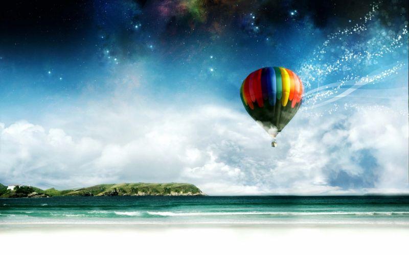 hot air balloons beaches wallpaper