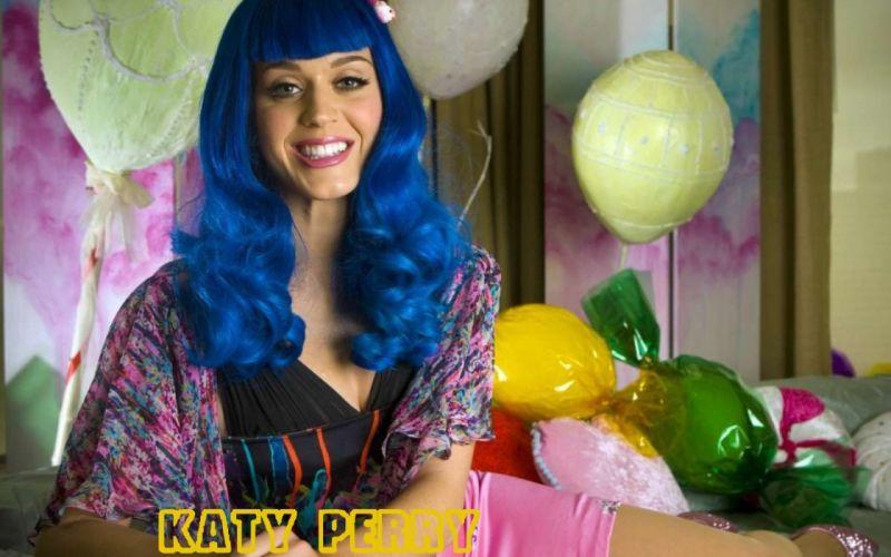 women Katy Perry blue hair singers bangs wallpaper