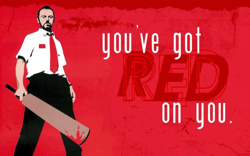 red Shaun of the Dead Simon Pegg wallpaper
