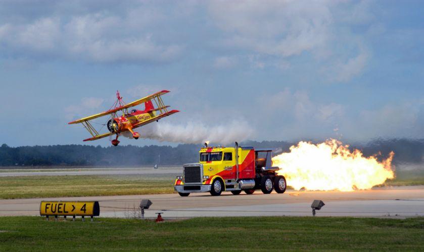 biplane airplane plane aircraft jet tractor semi race racing hot rod rods wallpaper