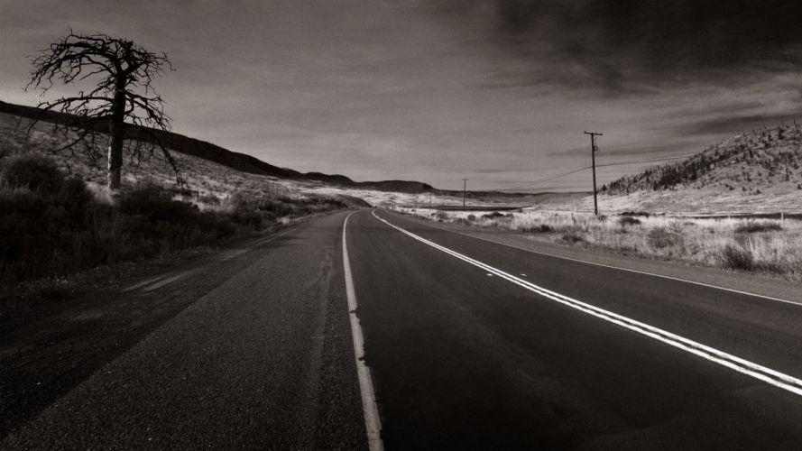 deserts roads monochrome wallpaper