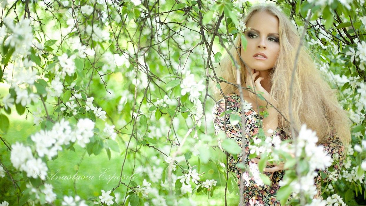 blondes women nature trees models wallpaper