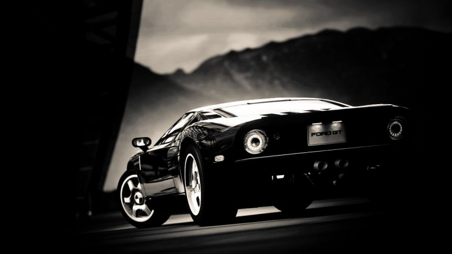 black and white video games cars Ford GT Gran Turismo 5 races Playstation 3 wallpaper