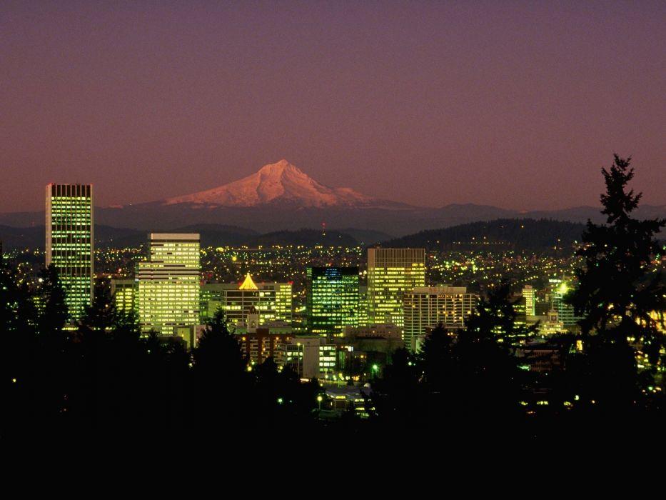 landscapes night Oregon Portland wallpaper