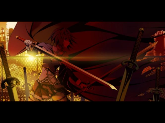 Mahou Shoujo Madoka Magica Miki Sayaka anime capes anime girls swords wallpaper