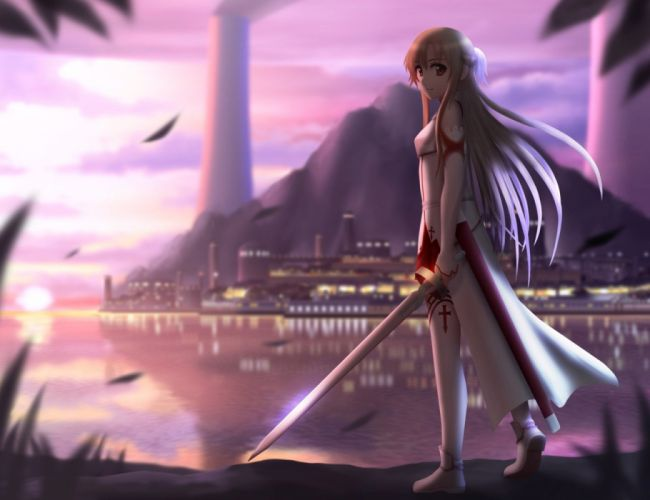 blondes water weapons scenic anime anime girls swords cities Sword Art Online Yuuki Asuna wallpaper