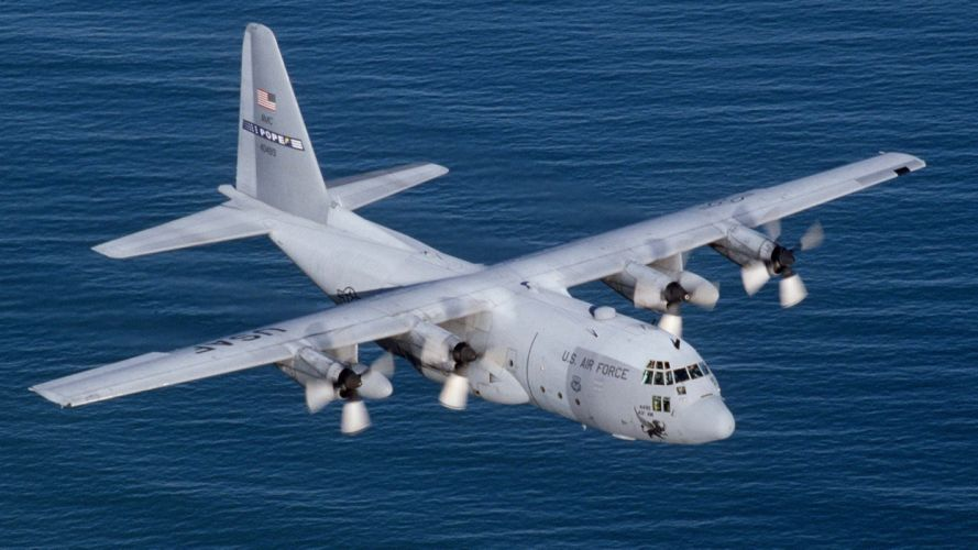 aircraft military planes United States Air Force C-130 Hercules 43rd Airlift Wing C-130E wallpaper
