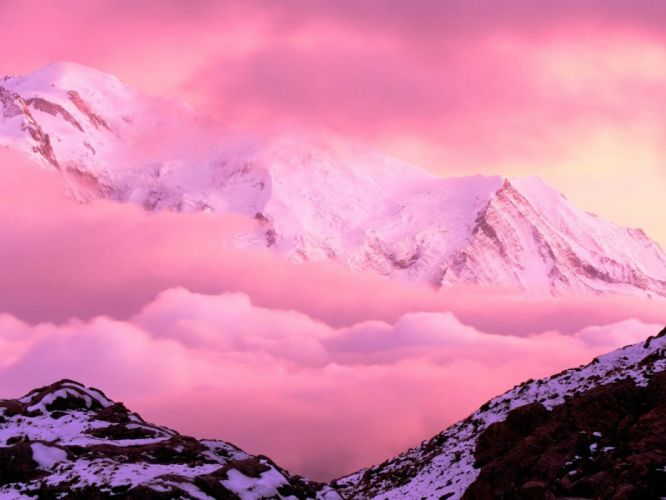 mountains clouds pink wallpaper