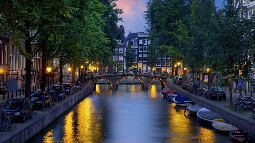 towns Netherlands Amsterdam rivers evening wallpaper