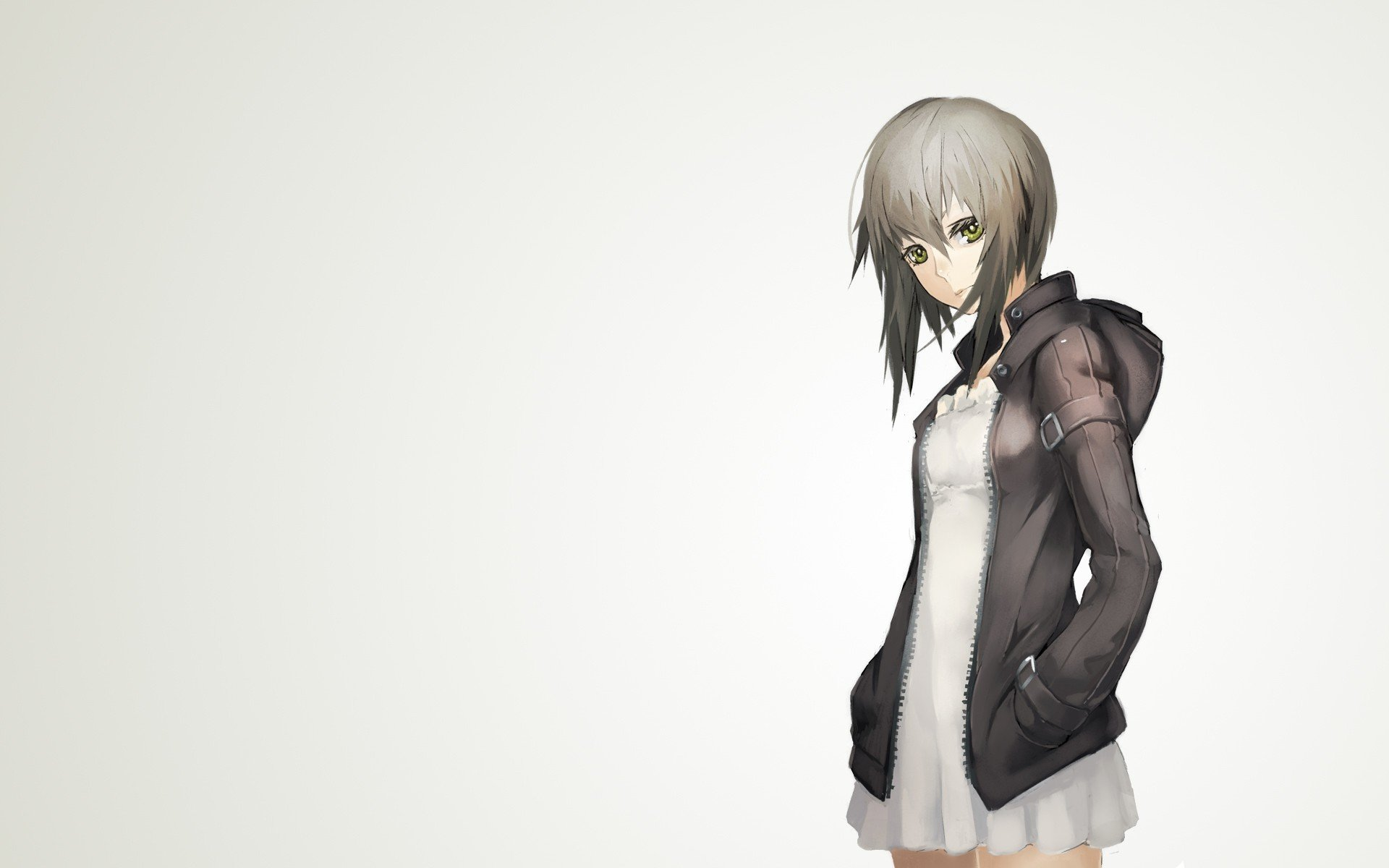 Anime Characters Jacket : Dress jackets green eyes short hair gray simple