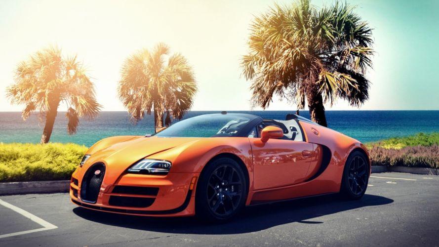 streets cars Bugatti Veyron Bugatti sunlight roads Bugatti Veyron Grand Sport wallpaper