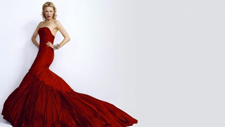 blondes women actress Cate Blanchett red dress simple background wallpaper