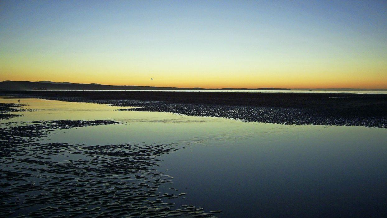 water sunset sea beaches wallpaper