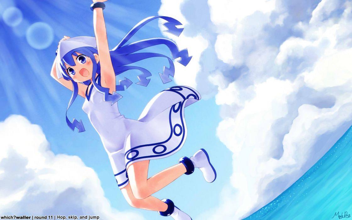 water clouds blue eyes long hair blue hair Shinryaku! Ika Musume Ika Musume open mouth skyscapes anime girls wallpaper