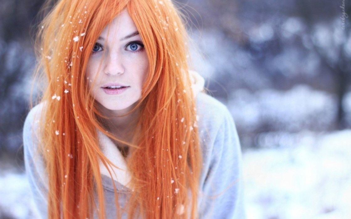 Women Winter Snow Blue Eyes Teen Orange Hair Pale Skin