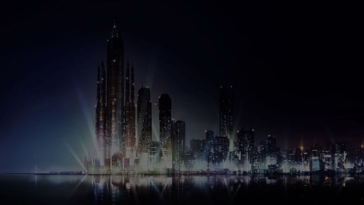 water cityscapes dark night lights buildings skyscrapers scenic anime reflections cities skies Psycho-Pass sea wallpaper