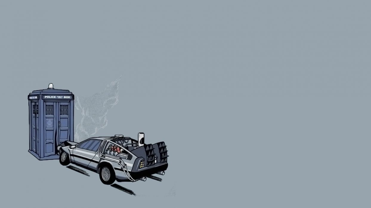 TARDIS Back to the Future Doctor Who DeLorean DMC-12 wallpaper
