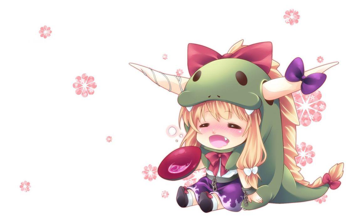 blondes Touhou white chibi horns long hair ribbons blush drunk Ibuki Suika wallpaper