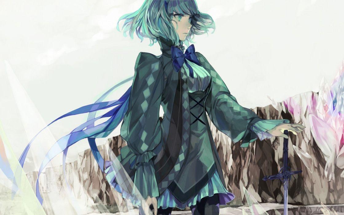 Pixiv green hair anime girls Kashiwa swords wallpaper