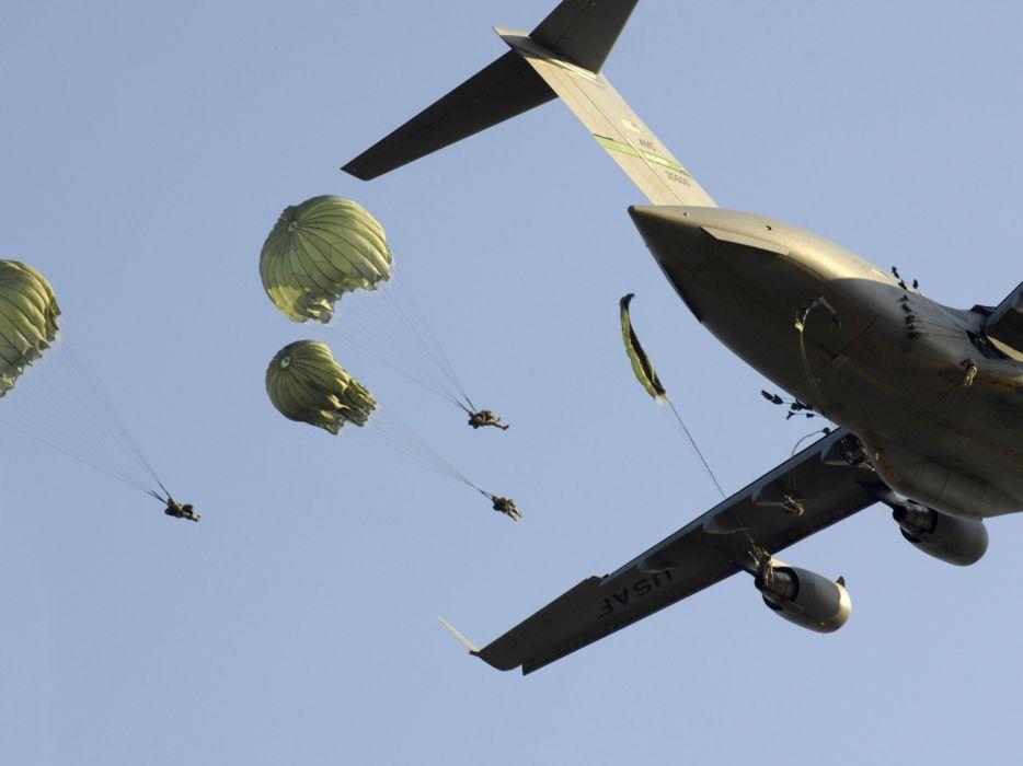 aircraft military Parachuting wallpaper