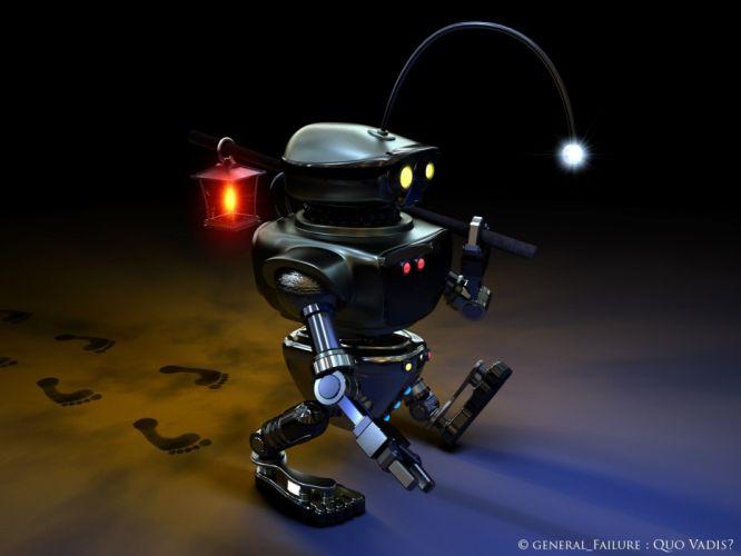 robots room lanterns digital art wallpaper