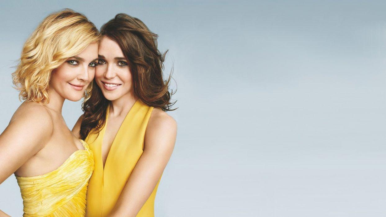 women Ellen Page actress Drew Barrymore yellow dress wallpaper