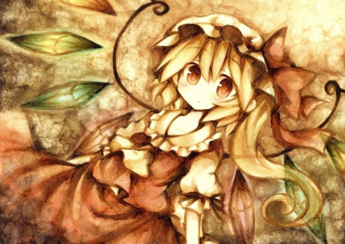 blondes Touhou wings vampires crystals Flandre Scarlet hats wallpaper