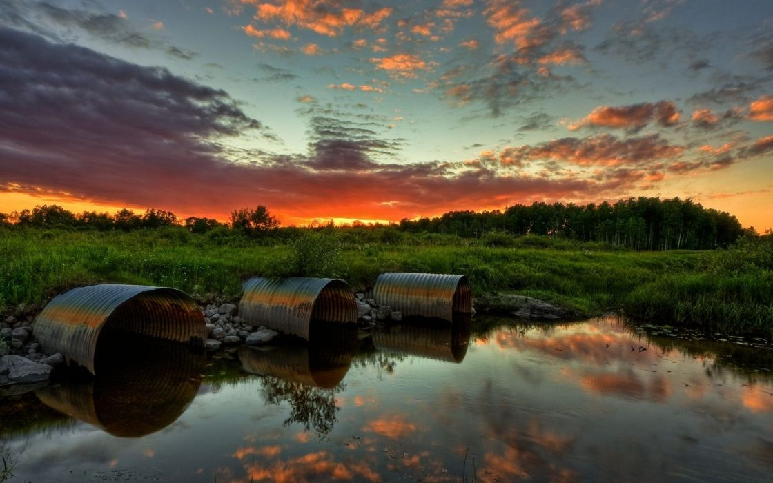 water clouds grass skyscapes reflections wallpaper
