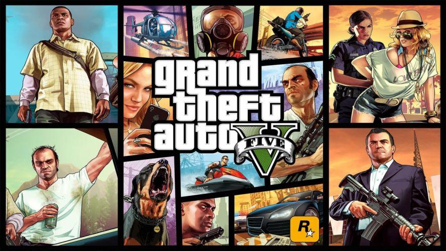 video games Grand Theft Auto Rockstar Games Grand Theft Auto V cover art Grand Theft Auto 5 wallpaper