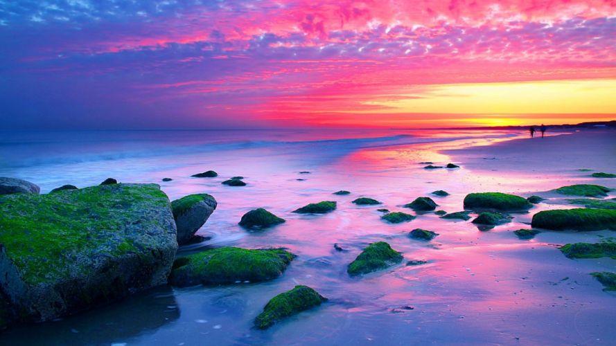 sunset landscapes nature Netherlands The Hague sea wallpaper