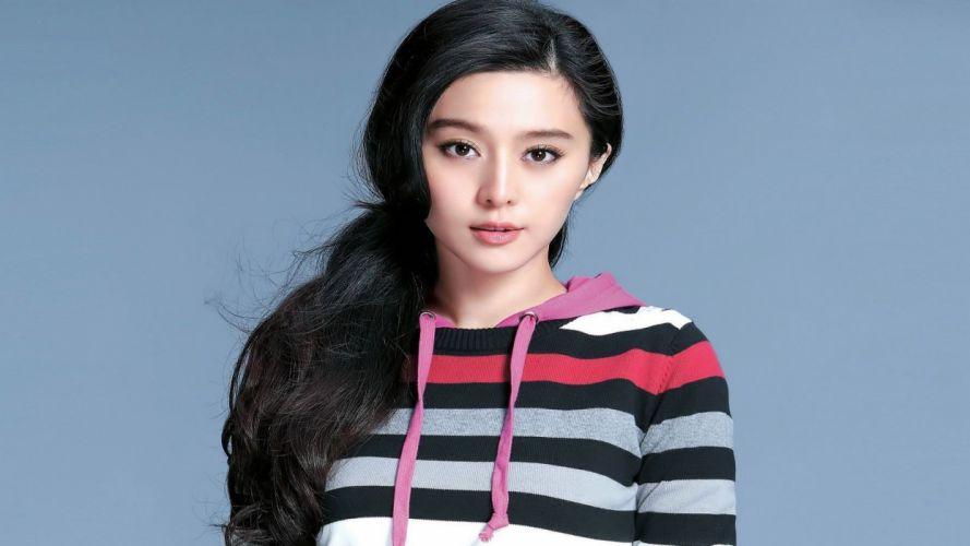 women Asians Fan Bingbing simple background wallpaper