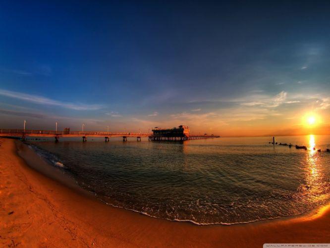 sunrise ocean piers sunrise ocean wallpaper