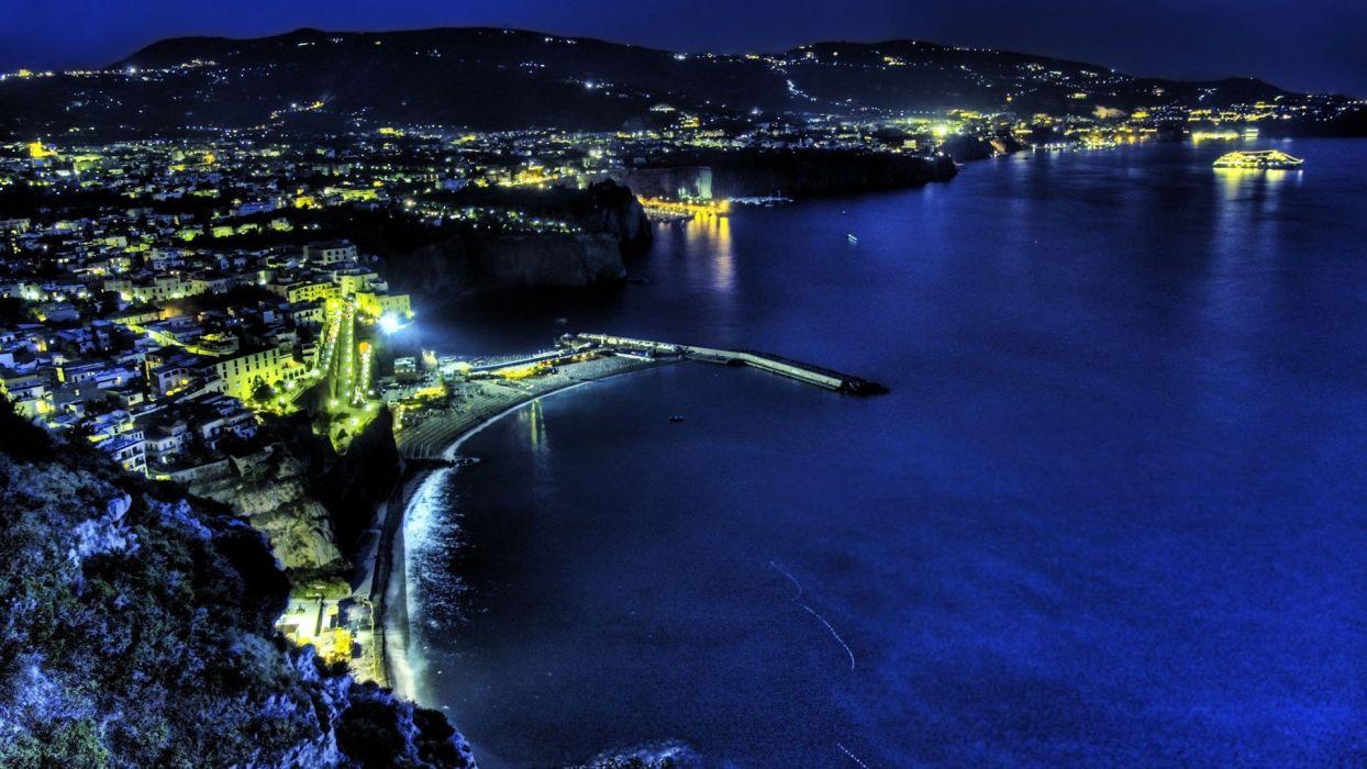 cityscapes night architecture cities sea wallpaper