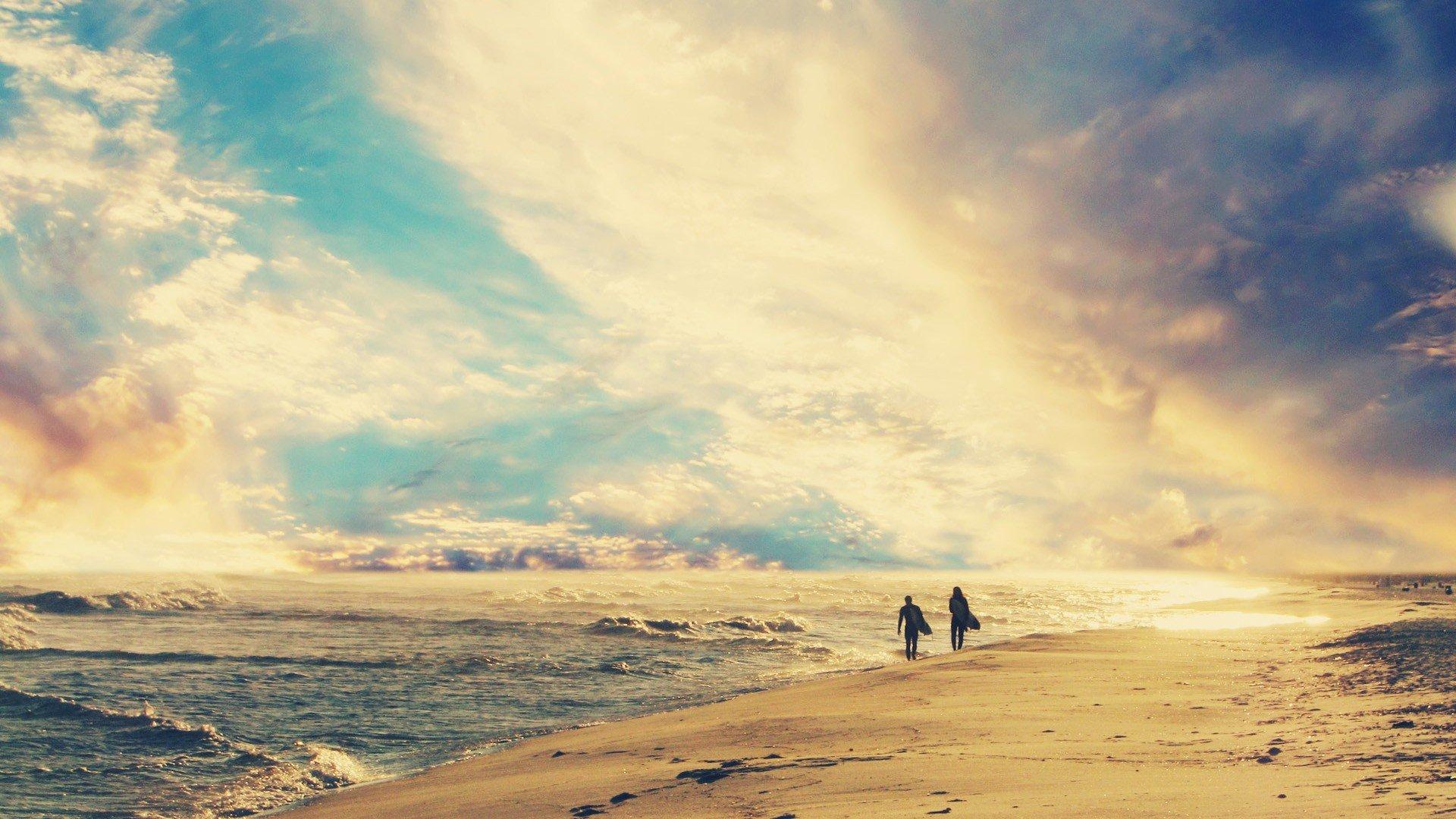 Sunset romantic dreamy beaches wallpaper | 1920x1080 ...
