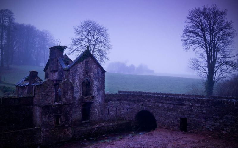 trees wall houses mist Arch wallpaper