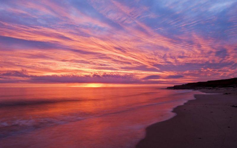 sunset ocean beaches wallpaper