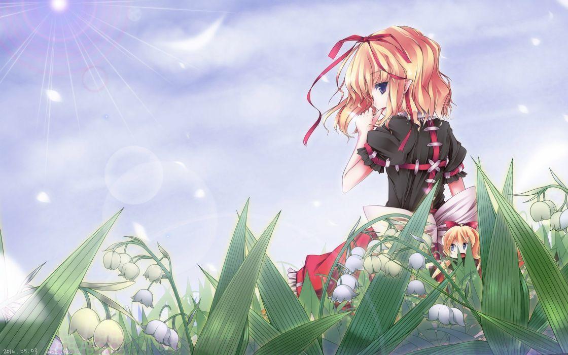 blondes video games Touhou skirts ribbons short hair Medicine Melancholy anime girls wallpaper
