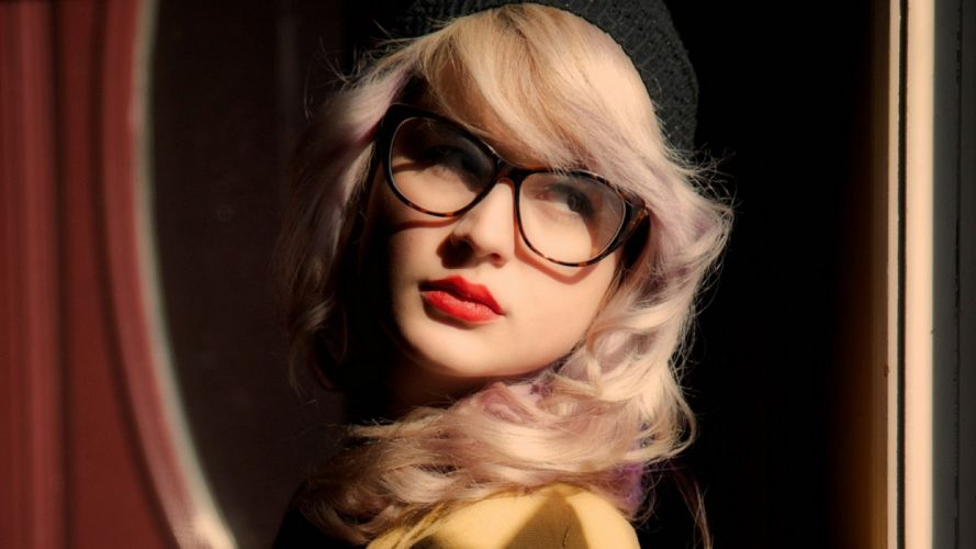 blondes women glasses girls with glasses red lips red lipstick wallpaper