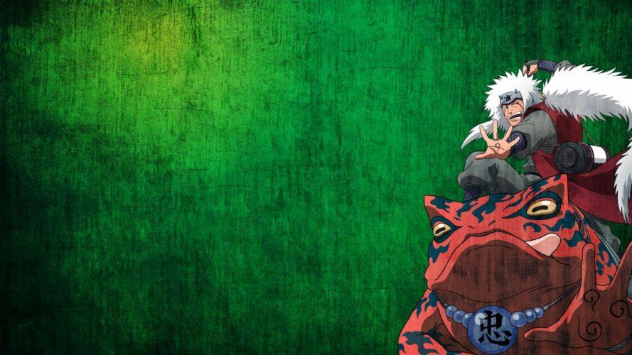 Naruto: Shippuden frogs anime anime boys Jiraiya green background Yoshairo wallpaper